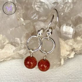 Gold Goldstone Silver Circle Earrings